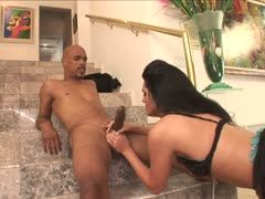Slim black-haired is banged by a Negro