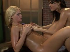 Strap-on banging after the lesbian massage