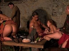Squirting sex orgy in the castle