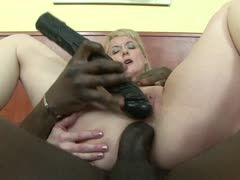 Milf is banged by black cock and dildo