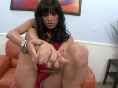 Cum is jizzed on Sadie West's feet