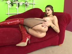 Anal banging in latex boots